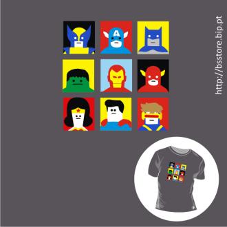 T-shirt personalizada - Super Heróis da BD; BD; Banda desenhada; Cómicos; Super heróis; Super Heroes