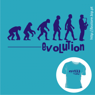 T-shirt personalizada -  Human Evolution - Sax player; Human evolution; Evolução; Saxofonista; Sax player; Saxofone;