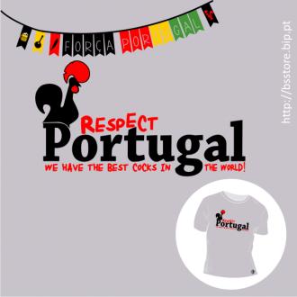 T-shirt personalizada - Respect Portugal!; Mundial 2014; Futebol; Portugal; Seleção Nacional; Bandeira Portuguesa; Galo de Barcelos; Melhores do Mundos;